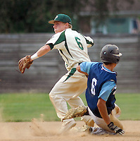 Pennridge shortstop Brad Misialek attempts to make the throw to first after forcing out Souderton's Nate Luscombe at second base in the sixth inning at Quakertown Memorial Park Monday July 13, 2015 in Quakertown, Pennsylvania.  (Photo by William Thomas Cain)