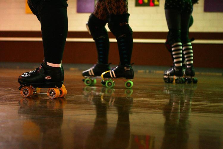 February 19, 2008; Santa Cruz, CA, USA; Detailed view of roller skates during Santa Cruz Rollergirls practice in Santa Cruz, CA. Photo by: Phillip Carter