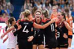 23.08.2018, Sporthalle Berg Fidel, Muenster<br />Volleyball, LŠnderspiel / Laenderspiel, Deutschland vs. Niederlande<br /><br />Jubel Lenka DŸrr / Duerr (#1 GER), Jennifer Geerties (#6 GER), Maren Fromm (#4 GER), Melanie Schšlzel / Schoelzel (#14 GER), Louisa Lippmann (#11 GER), Denise Hanke (#3 GER)<br /><br />  Foto &copy; nordphoto / Kurth