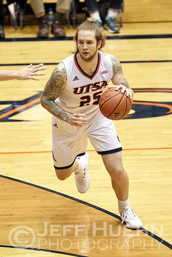 SAN ANTONIO, TX - FEBRUARY 22, 2018: The University of Texas at San Antonio Roadrunners defeat the University of Southern Mississippi Golden Eagles 64-56 at the UTSA Convocation Center. (Photo by Jeff Huehn)