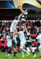 Mike Fitzgerald of Leicester Tigers wins the ball at a lineout. European Rugby Champions Cup semi final, between Leicester Tigers and Racing 92 on April 24, 2016 at The City Ground in Nottingham, England. Photo by: Patrick Khachfe / JMP