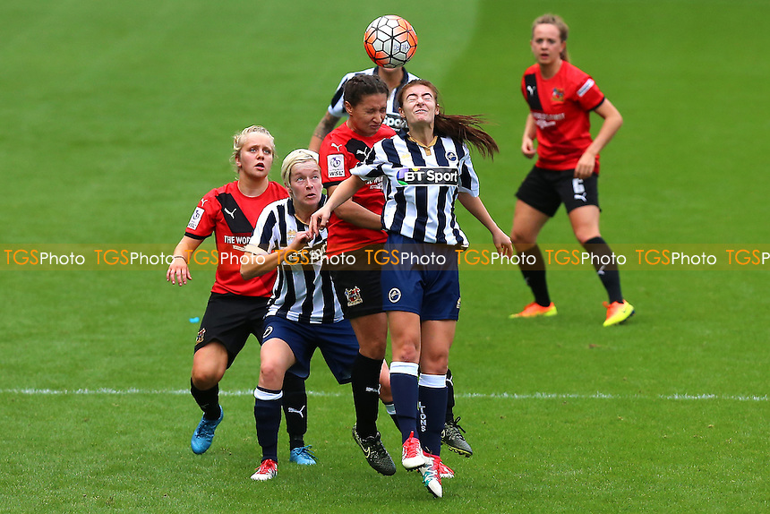 Francesca Strugnell of Millwall rises with Rhema Lord-Mears of Sheffield during Millwall Lionesses vs Sheffield FC Ladies, FA Women's Super League FA WSL2 Football at The Den on 9th October 2016
