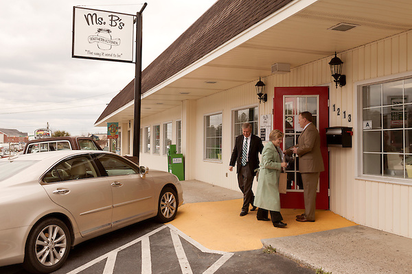 March 26, 2013. West Columbia, South Carolina . Sen. Lindsey Graham leaves Mrs. B's Southern Kitchen, with members of his staff, after greeting diners and discussing his plans for the political season.. Sen. Lindsey Graham, R- South Carolina, is up for reelection in 2014. He spent some time talking to his base back home about issues such as immigration reform as he readies himself for his campaign run..