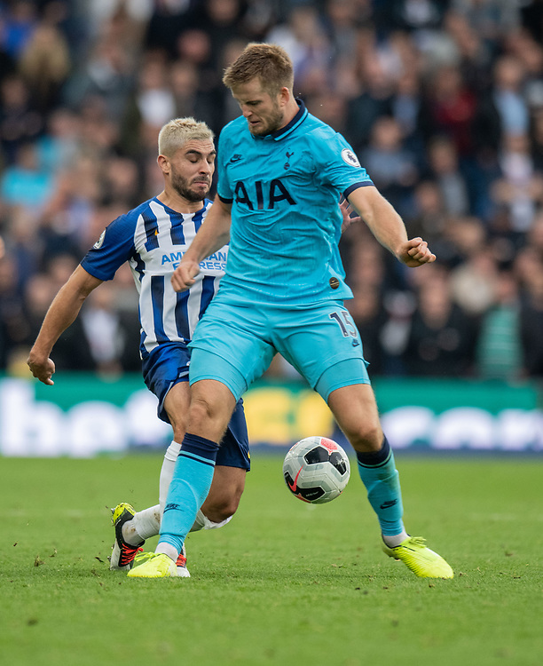 Tottenham Hotspur's Eric Dier (right) under pressure from Brighton & Hove Albion's Neal Maupay (left) <br /> <br /> Photographer David Horton/CameraSport<br /> <br /> The Premier League - Brighton and Hove Albion v Tottenham Hotspur - Saturday 5th October 2019 - The Amex Stadium - Brighton<br /> <br /> World Copyright © 2019 CameraSport. All rights reserved. 43 Linden Ave. Countesthorpe. Leicester. England. LE8 5PG - Tel: +44 (0) 116 277 4147 - admin@camerasport.com - www.camerasport.com