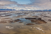 Aerial of the meandering waterways in the silt laden copper river delta, southcentral, Alaska.