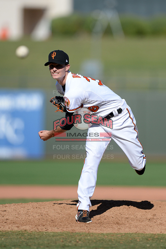 Surprise Saguaros pitcher Tim Berry (38), of the Baltimore Orioles organization, during an Arizona Fall League game against the Salt River Rafters on October 14, 2013 at Surprise Stadium in Surprise, Arizona.  Salt River defeated Surprise 3-2.  (Mike Janes/Four Seam Images)
