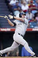 Jason Giambi of the New York Yankees bats during a 2002 MLB season game against the Los Angeles Angels at Angel Stadium, in Anaheim, California. (Larry Goren/Four Seam Images)