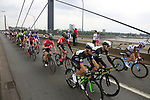 The peloton including Mark Cavendish (GBR) Team Dimension Data cross Theodor-Heuss-Bridge over the River Rhine during Stage 2 of the 104th edition of the Tour de France 2017, running 203.5km from Dusseldorf, Germany to Liege, Belgium. 2nd July 2017.<br /> Picture: Eoin Clarke | Cyclefile<br /> <br /> <br /> All photos usage must carry mandatory copyright credit (&copy; Cyclefile | Eoin Clarke)
