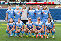 Bridgeview, IL, USA - Saturday, April 23, 2016: Starting XI for the Chicago Red Stars in a match against the Western New York Flash during a regular season National Women's Soccer League match at Toyota Park. Chicago won 1-0.