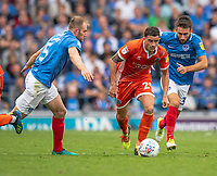 Shrewsbury Town's Oliver Norburn (centre) Portsmouth's Matthew Clarke (left) &amp; Portsmouth's Ben Close (right)  <br /> <br /> Photographer David Horton/CameraSport<br /> <br /> The EFL Sky Bet League One - Portsmouth v Shrewsbury Town - Saturday September 8th 2018 - Fratton Park - Portsmouth<br /> <br /> World Copyright &copy; 2018 CameraSport. All rights reserved. 43 Linden Ave. Countesthorpe. Leicester. England. LE8 5PG - Tel: +44 (0) 116 277 4147 - admin@camerasport.com - www.camerasport.com