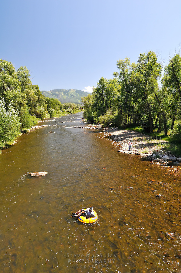 Inner tubing on the Yampa River, Steamboat Springs, Colorado