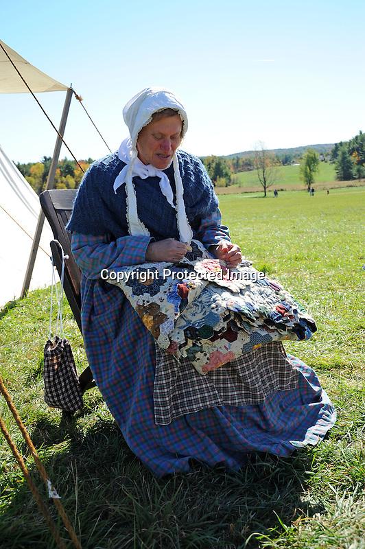 Civil War Reenactment Unity Village Camp Woman Making a Quilt