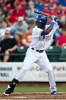 Round Rock Express outfielder Julio Borbon #20 at bat during the MLB exhibition baseball game against the Texas Rangers on April 2, 2012 at the Dell Diamond in Round Rock, Texas. The Rangers out-slugged the Express 10-8. (Andrew Woolley / Four Seam Images).