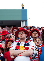 A New York Red Bulls fan watches his team during a Major League Soccer game at PPL Park in Chester, PA.  Philadelphia defeated New York, 3-0.