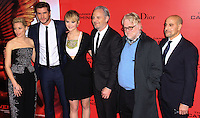 "NEW YORK, NY - NOVEMBER 20: Elizabeth Banks, Liam Hemsworth, Jennifer Lawrence, Francis Lawrence, Philip Seymour Hoffman, Stanley Tucci at the New York Premiere Of Lionsgate's ""The Hunger Games: Catching Fire"" held at AMC Lincoln Square Theater on November 20, 2013 in New York City. (Photo by Jeffery Duran/Celebrity Monitor)"