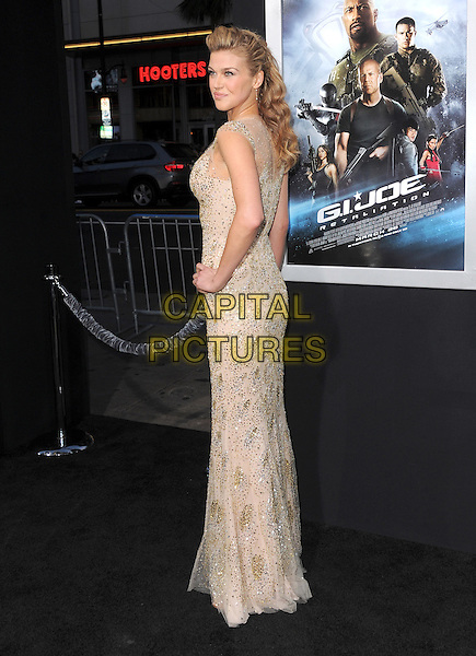 "Adrianne Palicki.""G.I. Joe: Retaliation"" Los Angeles Premiere held at TCL Chinese Theatre, Hollywood, California, USA..March 28th, 2013     .full length beige silver beads beaded dress gold hand on hip sequins side looking over shoulder sequined .CAP/DVS.©DVS/Capital Pictures."