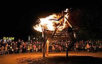 Nederland Utrecht - november 2018. Sint Maarten is in Utrecht favoriet boven Halloween. In Leidsche Rijn ontstaat een nieuwe traditie: het Vuur van Sint Maarten. Het Vuur van Sint Maarten is een spektakel vol lichtkunst en muziek rond een groot vuur. Het evenement vindt plaats op vrijdag 9 november op het Berlijnplein, aan de vooravond van de Sint Maarten Parade in de binnenstad.  Foto Berlinda van Dam / Hollandse Hoogte
