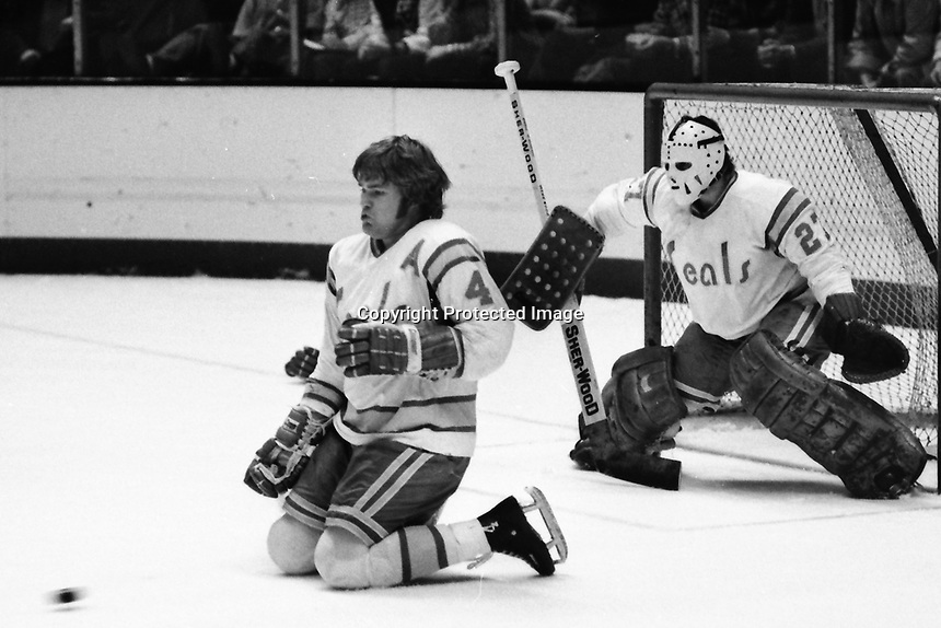 Seals Bob Stewart takes one for the team, goalie Gilles Meloche. (1975 photo/Ron Riesterer)