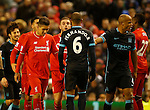 Jordan Henderson of Liverpool argues with Fernando of Manchester City - English Premier League - Liverpool vs Manchester City - Anfield Stadium - Liverpool - England - 3rd March 2016 - Picture Simon Bellis/Sportimage