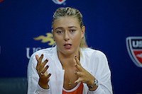 Maria Sharapova of Russia speaks during a news conference at the Arthur ASHE stadium during the US Open 2015 tennis Tournament in New York. 08.29.2015.  Eduardo MunozAlvarez/VIEWpress.