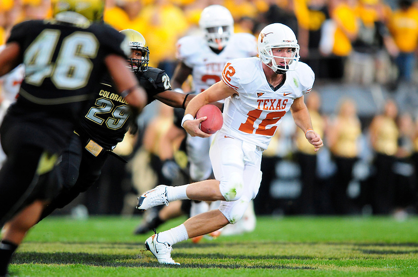 04 October 2008: Texas quarterback Colt McCoy rushes against Colorado. The Texas Longhorns defeated the Colorado Buffaloes 38-14 at Folsom Field in Boulder, Colorado. For Editorial Use Only