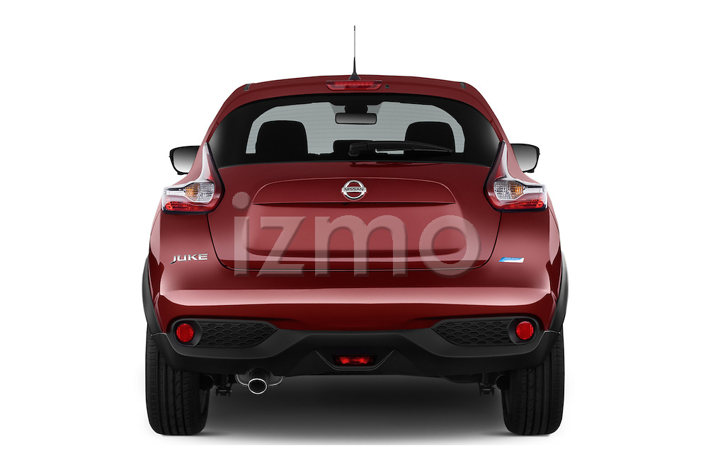 Straight rear view of 2017 Nissan JUKE SV 5 Door SUV Rear View  stock images