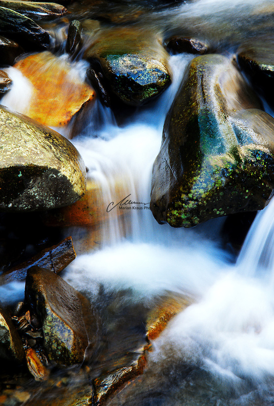 A fresh spring fed creek at the Great Smoky Mountains National Park  makes its way amongst colorful rocks. Ridge upon ridge of forest straddles the border between North Carolina and Tennessee in Great Smoky Mountains National Park. World renowned for its diversity of plant and animal life, the beauty of its ancient mountains, and the quality of its remnants of Southern Appalachian mountain culture, this is America's most visited national park.