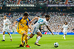 Isco Alarcon (r) of Real Madrid is tackled by APOEL FC players during the UEFA Champions League 2017-18 match between Real Madrid and APOEL FC at Estadio Santiago Bernabeu on 13 September 2017 in Madrid, Spain. Photo by Diego Gonzalez / Power Sport Images