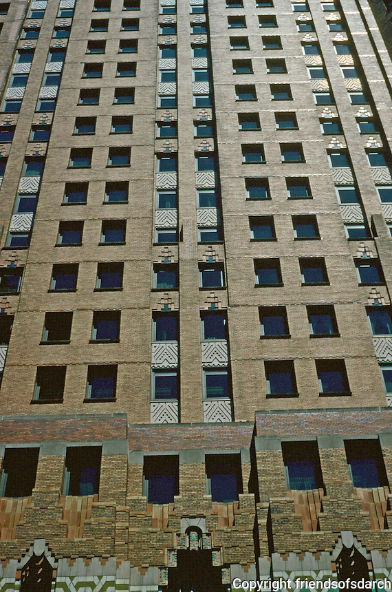 Detroit:  Guardian Building--upper facade.  Polychrome brick.  Photo '97.