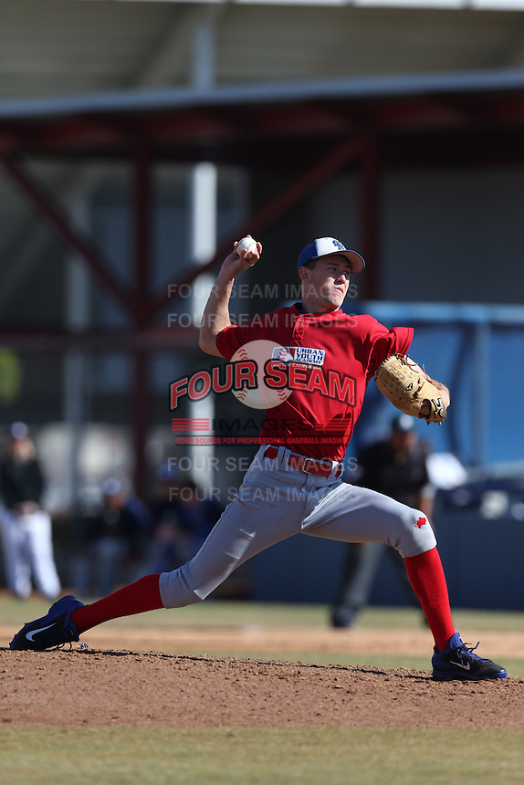 Griffin Canning of Santa Margarita High School in Rancho Santa Margarita, California during the MLBS Southern California Invitational Workout at the Urban Youth Academy on February 14, 2014 in Compton, California. (Larry Goren/Four Seam Images)