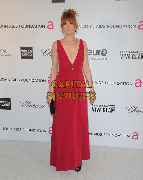 Judy Greer.The 21st Annual Elton John AIDS Foundation Academy Awards Viewing Party held at The City of West Hollywood Park in West Hollywood, California, USA..February 24th, 2013.oscars full length black dress clutch bag pink sleeveless low cut neckline cleavage .CAP/DVS.©DVS/Capital Pictures.