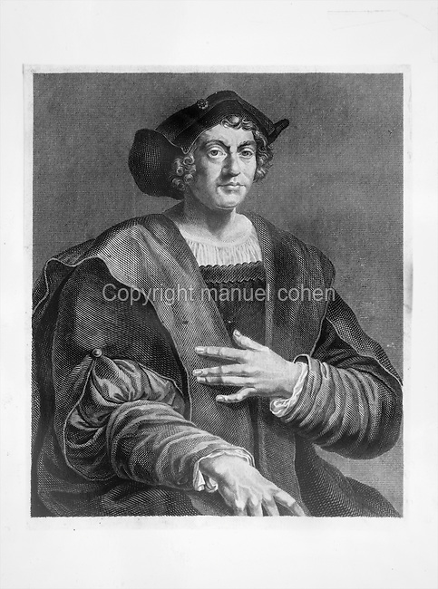 Portrait of Christopher Columbus, 1450-1506, Italian navigator and explorer, engraving, 19th century.  Under the Catholic Monarchs of Spain, Columbus completed 4 voyages across the Atlantic Ocean and initiated the Spanish colonisation of the New World. Copyright © Collection Particuliere Tropmi / Manuel Cohen