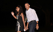 US President Barack Obama and daughters Sasha walk on the South Lawn of the White House to the Residence June 19, 2016 in Washington, DC. The First Family traveled to Yosemite National Park.Photo by Olivier Douliery/Abaca<br /> Credit: Olivier Douliery / Pool via CNP