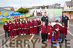 Darragh O&rsquo;Hanlon and Patrick McCarthy from All Change Together with the students from 1st class in the Moyderwell Primary school on Monday last.<br /> Front right are Darragh O&rsquo;Hanlon and Patrick McCarthy with Kady Williams, Ellie O&rsquo;Rahilly, Markus Keane and Favour Roberts.