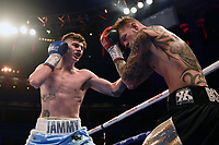 Eithan James (blue shorts) defeats Fonz Alexander during a Boxing Show at the Royal Albert Hall on 27th September 2019