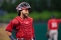 Springfield Cardinals catcher Jose Godoy (27) looks on between batters on May 18, 2019, at Arvest Ballpark in Springdale, Arkansas. (Jason Ivester/Four Seam Images)