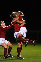 14 September 2007: Stanford Cardinal Shari Summers (right), Allison Falk (center), and Alicia Jenkins (left) during Stanford's 3-2 win in the Stanford Invitational against the Missouri Tigers at Maloney Field in Stanford, CA.