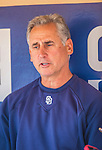 22 June 2013: San Diego Padres Manager Bud Black answers media questions in the dugout prior to a game against the Los Angeles Dodgers at Petco Park in San Diego, California. The Dodgers defeated the Padres 6-1 in the third game of their 4-game Divisional Series. Mandatory Credit: Ed Wolfstein Photo *** RAW (NEF) Image File Available ***