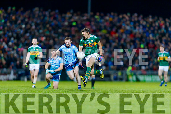 David Moran Kerry in action against  Jack McCaffery Dublin during the Allianz Football League Division 1 Round 3 match between Kerry and Dublin at Austin Stack Park in Tralee, Kerry on Saturday night.