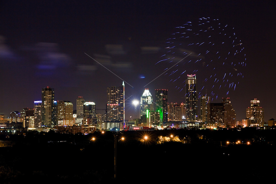 4th of July Austin fireworks display over Austin, Texas