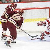 Steven Whitney (BC - 21), Jimmy Hayes (BC - 10), Ryan Carroll (Harvard - 35) - The Boston College Eagles defeated the Harvard University Crimson 3-2 on Wednesday, December 9, 2009, at Bright Hockey Center in Cambridge, Massachusetts.