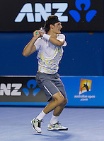 BERNARD TOMIC (AUS) against ALEXANDR DOLGOPOLOV (UKR) in the third round of the men's singles. Bernard Tomic beat Alexandr Dolgopolov 4-6 7-6 7-6 2-6 6-3..20/01/2012, 20th January 2012, 20.01.2012..The Australian Open, Melbourne Park, Melbourne,Victoria, Australia.@AMN IMAGES, Frey, Advantage Media Network, 30, Cleveland Street, London, W1T 4JD .Tel - +44 208 947 0100..email - mfrey@advantagemedianet.com..www.amnimages.photoshelter.com.