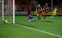 Exeter City's Ollie Watkins scores to make it 1-0 during the Sky Bet League 2 match between Crawley Town and Exeter City at Broadfield Stadium, Crawley, England on 28 February 2017. Photo by Carlton Myrie / PRiME Media Images.