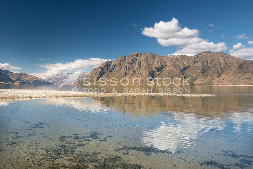 Summer, Lake Hawea, South Island, New Zealand- stock photo, canvas, fine art print