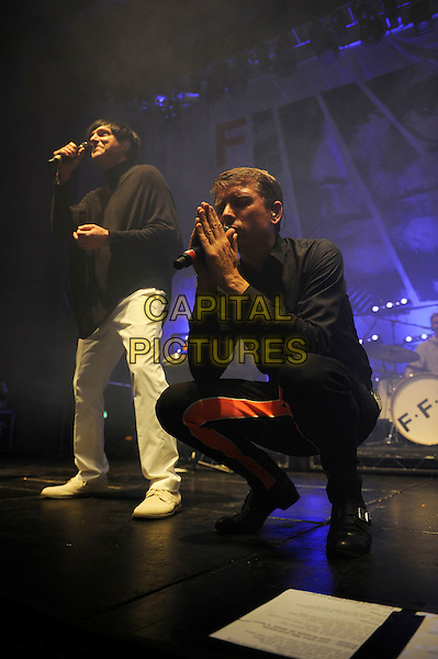 LONDON, ENGLAND - JUNE 29: Russell Mael and Alex Kapranos of 'F.F.S' performing at The Troxy on June 29, 2015 in London, England.<br /> CAP/MAR<br /> &copy; Martin Harris/Capital Pictures