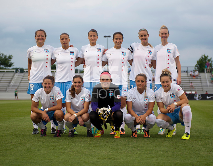 The Chicago Red Stars line up before a game at the Maryland SoccerPlex in Boyds, MD.
