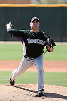 Daniel Turpen of the Colorado Rockies pitches in a minor league spring training intrasquad game at the Rockies minor league complex on April 1, 2011  in Scottsdale, Arizona. .Photo by:  Bill Mitchell/Four Seam Images.