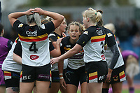 Picture by Paul Currie/SWpix.com - 07/10/2017 - Rugby League - Women's Super League Grand Final - Bradford Bulls v Featherstone Rovers - Regional Arena, Manchester, England - Lois Forsell of Bradford Bulls celebrates scoring the 2nd try