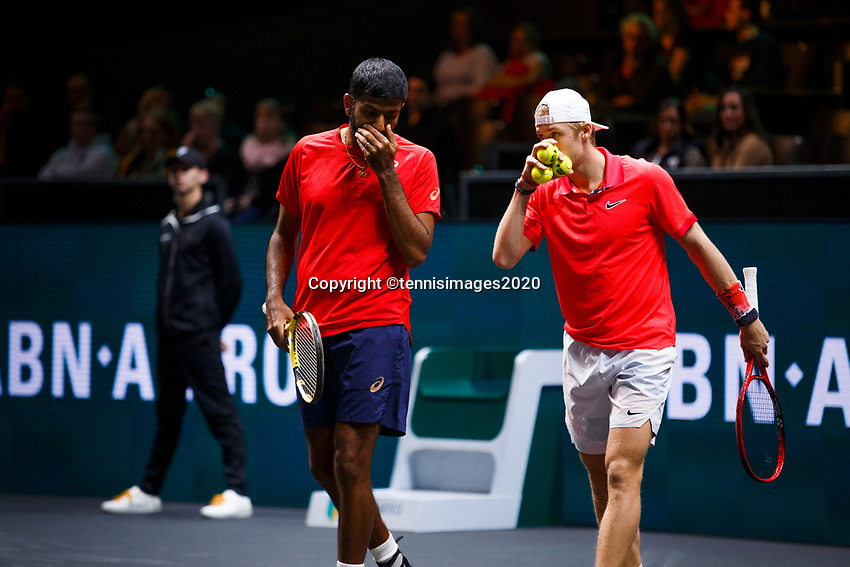 Rotterdam, The Netherlands, 11 Februari 2020, ABNAMRO World Tennis Tournament, Ahoy, <br /> Rohan Bopanna (IND) and Denis Shapovalov (CAN) (R).<br /> Photo: www.tennisimages.com
