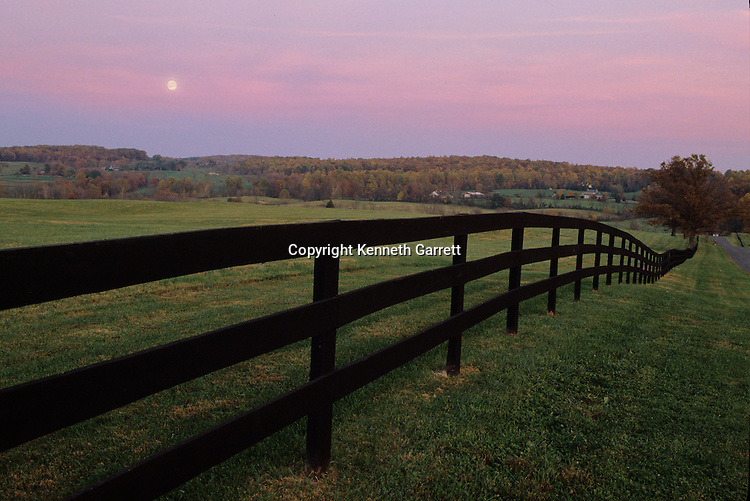 Fauquier County, VA, scenic, road, farmland, fence
